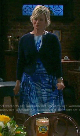 Kayla's blue palm leaf print dress on Days of our Lives