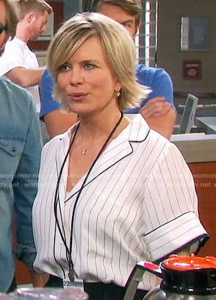 Kayla's white striped shirt on Days of our Lives
