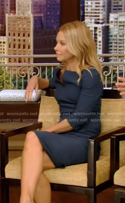 Kelly's green split neck dress on Live With Kelly