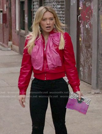 Kelsey's red leather jacket with pink bow on Younger