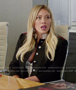 Kelsey's black military style jacket on Younger