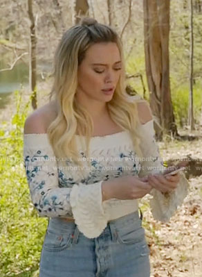 Kelsey's embroidered off-shoulder sweater on Younger