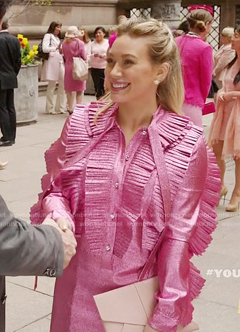 Kelsey's metallic pink ruffled dress on Younger