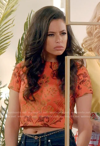 Kibby's orange floral crop top on Daytime Divas