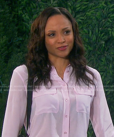 Lani's light pink blouse with pockets on Days of our Lives