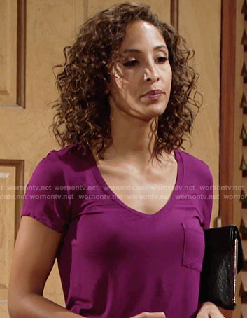 Lily's magenta v-neck tee on The Young and the Restless
