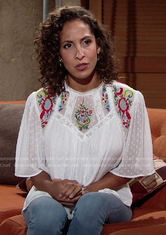 Lily's white floral embroidered top on The Young and the Restless