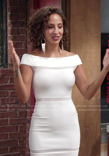 Lily's white off-shoulder dress on The Young and the Restless