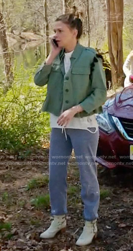 Liza's green tassel jacket and star sweatpants on Younger