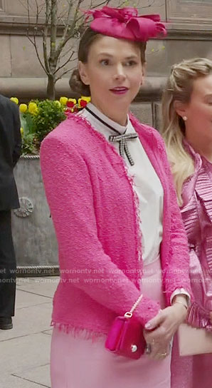 Liza's pink tweed jacket and bow neck top on Younger