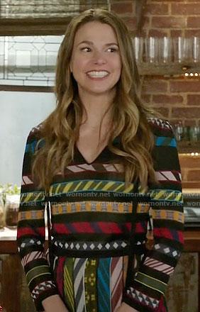 Liza's striped v-neck dress on Younger