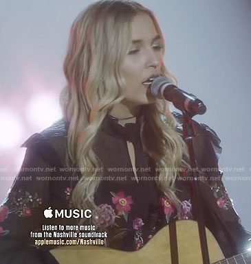 Maddie's black floral embroidered blouse on Nashville
