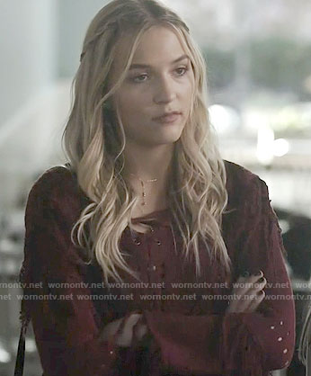 Maddie's red lace-up sweater on Nashville