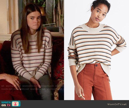 Madewell Brownstone Side-button Sweater in Stripe worn by Callie Jacob (Maia Mitchell) on The Fosters