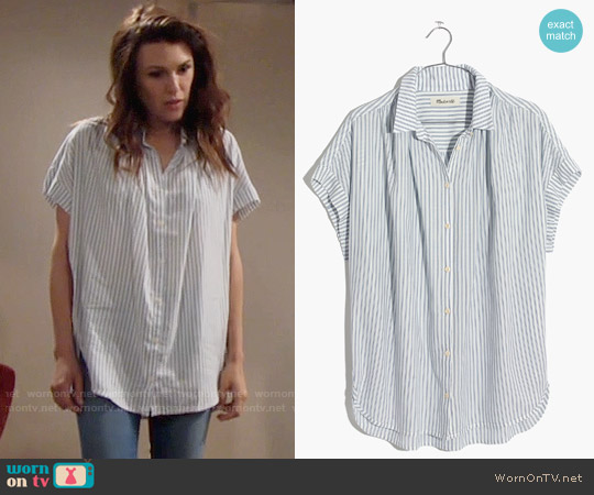 Madewell Central Shirt in Erinn Stripe worn by Elizabeth Hendrickson on The Young & the Restless