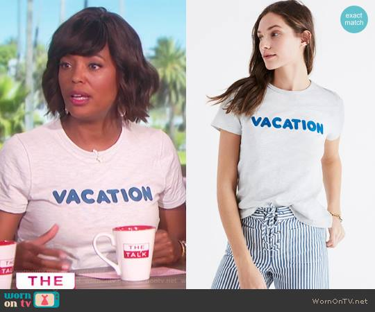 Embroidered Vacation Tee by Madewell worn by Aisha Tyler on The Talk