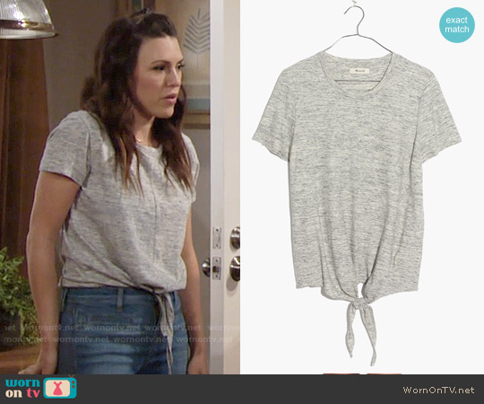 Madewell Tie Front Tee worn by Elizabeth Hendrickson on The Young & the Restless