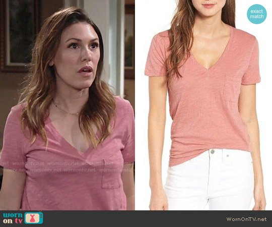 Madewell Whisper Cotton V-neck Pocket Tee worn by Elizabeth Hendrickson on The Young & the Restless
