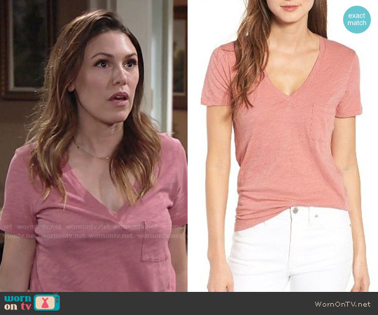Madewell Whisper Cotton V-neck Pocket Tee worn by Chloe Mitchell (Elizabeth Hendrickson) on The Young & the Restless