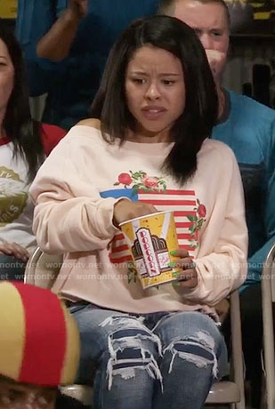 Mariana's floral flag graphic sweatshirt on The Fosters