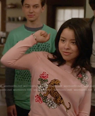 Mariana's pink floral and tiger sweater on The Fosters