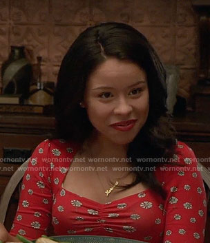 Mariana's red daisy print dress on The Fosters
