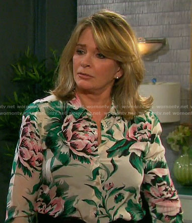 Marlena's floral button down shirt on Days of our Lives