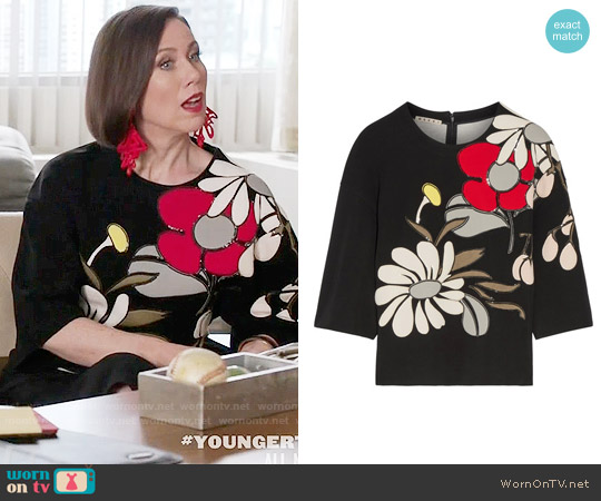 Marni Appliqued Ponte Top worn by Miriam Shor on Younger
