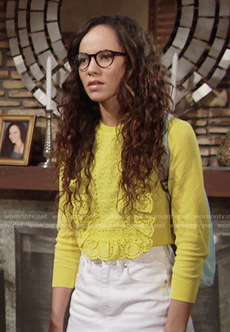 Mattie's yellow lace front sweater and white denim skirt on The Young and the Restless