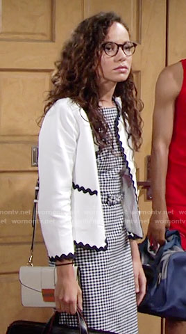 Mattie's belted gingham checked dress and white jacket with contrasting trim on The Young and the Restless