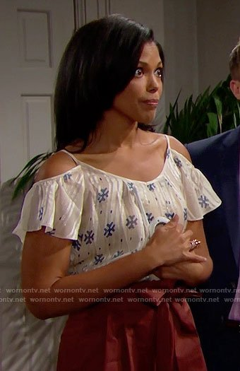 Maya's white printed cold-shoulder top on The Bold and the Beautiful