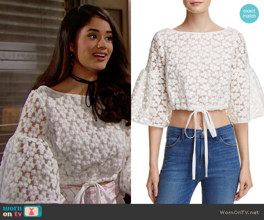 Milly Lydia Floral Embroidered Top worn by Danube Hermosillo on The Bold & the Beautiful