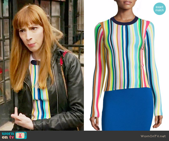 Milly Vertical Striped Rainbow Pullover worn by Molly Bernard on Younger