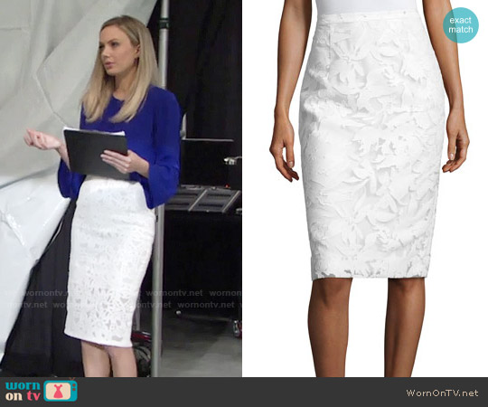 Milly Floral-Burnout Pencil Skirt worn by Abby Newman on The Young & the Restless