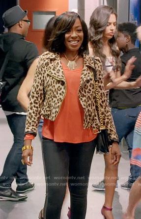 Mo's leopard print moto jacket on Daytime Divas