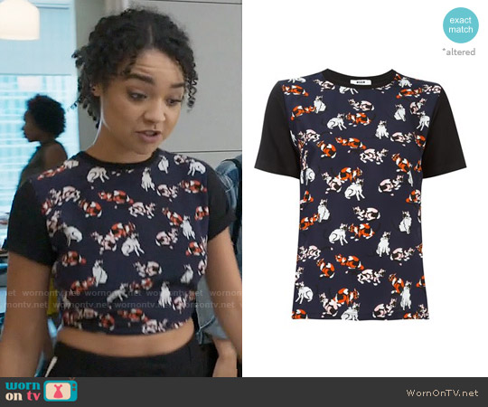 MSGM Cats Print T-shirt worn by Aisha Dee on The Bold Type