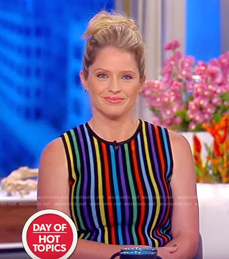 Sara's multi-color striped dress on The View