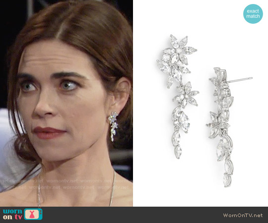 Nadri Floral Crystal Linear Drop Earrings worn by Amelia Heinle on The Young & the Restless