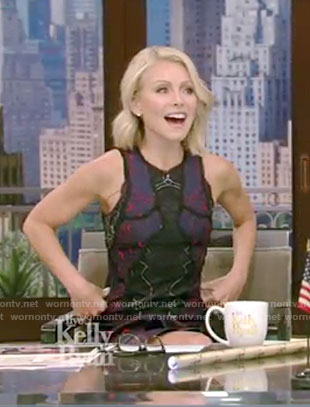 Kelly's navy tiered lace dress on Live with Kelly and Ryan