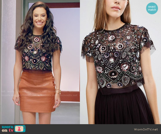 Needle & Thread Enchanted Lace Top worn by Kibby Ainsley (Chloe Bridges) on Daytime Divas