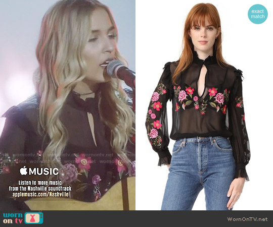 Nicholas Peony Embroidered Ruffle Shirt worn by Maddie Jaymes (Lennon Stella) on Nashville