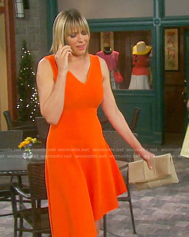 Nicole's orange v-neck dress on Days of our Lives