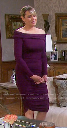 Nicole's purple off-shoulder dress on Days of our Lives