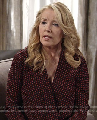 Nikki's red polka dot draped front blouse on The Young and the Restless