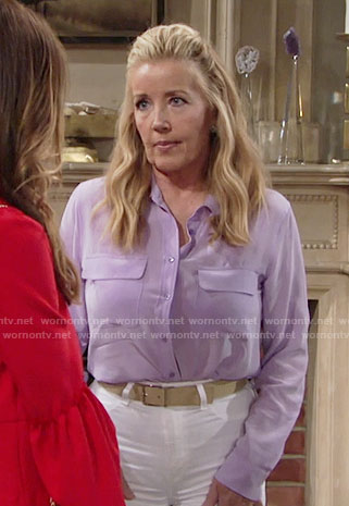 Nikki's purple button down shirt on The Young and the Restless