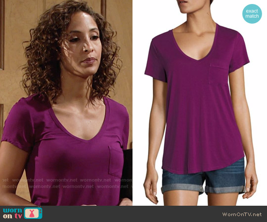 Paige Lynnea Tee in Dark Violet worn by Lily Winters (Christel Khalil) on The Young & the Restless