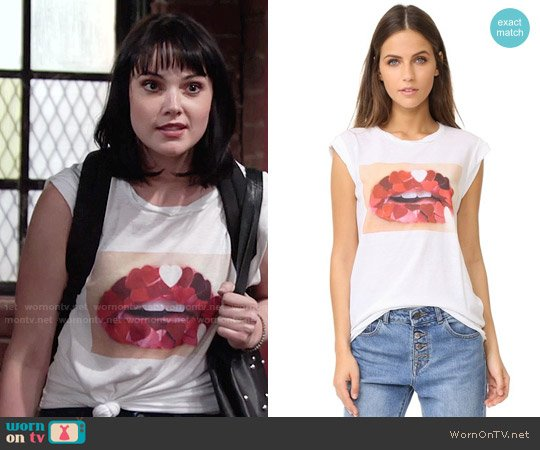 Pam & Gela Heart Mouth Frankie Tee worn by Tessa Porter (Cait Fairbanks) on The Young & the Restless