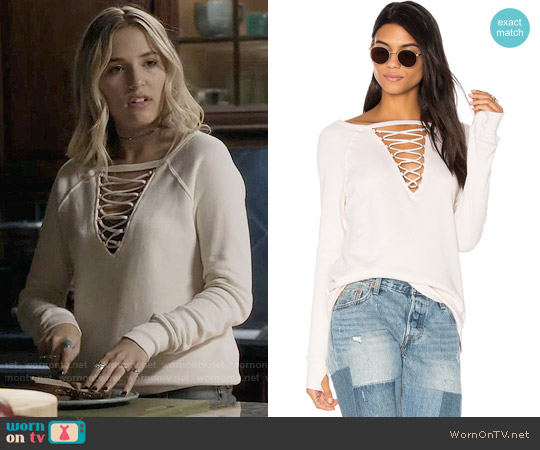 Pam & Gela Crew Neck Lace-Up Sweatshirt worn by Lennon Stella on Nashville