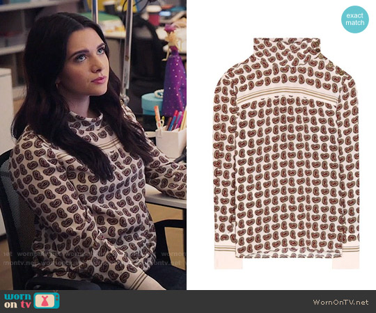 Philosophy Di Lorenzo Serafini Paisley-printed silk blouse worn by Jane Sloan (Katie Stevens) on The Bold Type