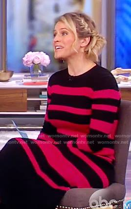 Sara's black and pink striped sweater midi dress on The View